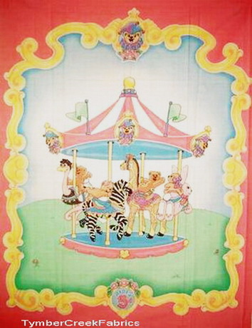 Carousel Giraffe Zebra Quilt Fabric Panel <font color=Red> SALE