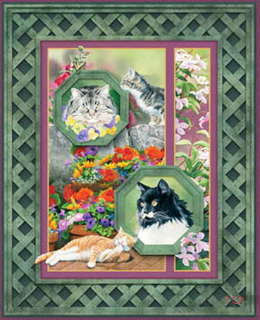 Cat Nap Pawriffic Wall/Quilt Fabric Panels