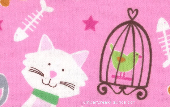 Cats Birdies Cage Stars Pink Flannel