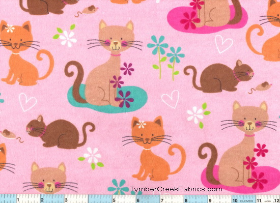 "Kitties Cats on Pink 29"" Flannel"