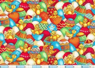 Hatching Chicks Fancy Eggs Fabric