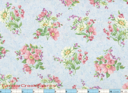 Child's Lullaby Bouquet Blue Fabric <font color=Red> SALE