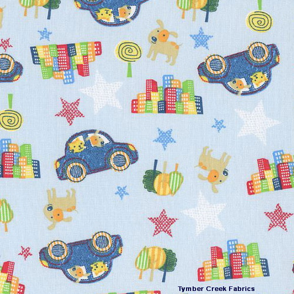 Child's Play Cars Puppies Stars Fabric