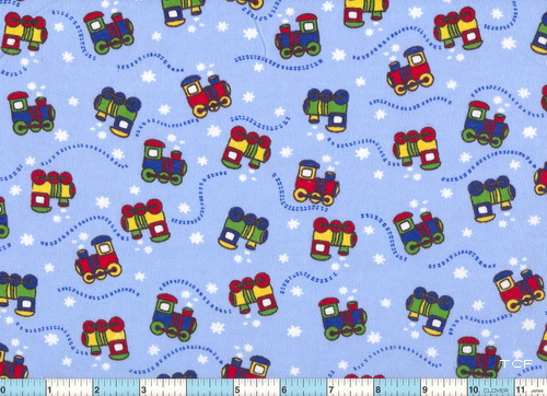 Little Choo Choo Blue Flannel