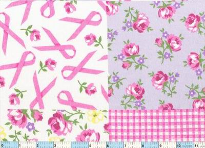 "Breast Cancer Ribbon Flower Patch 1yd11"" Flannel"