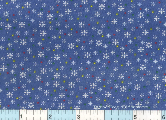 Country Blue White Snowflakes Yellow Dots