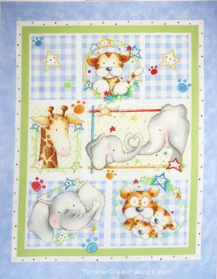 Cuddle Time Elephant Giraffe Tiger Quilt Blue Panel <font color=