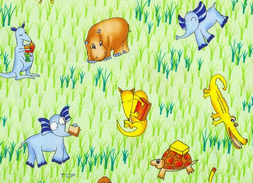 Curious George Animals Grazing Fabric