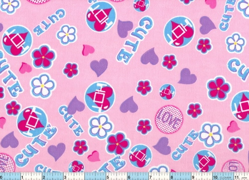 "Cute Love Hot Pink 1yd 6"" Flannel"