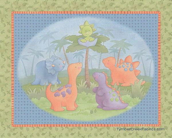 Cute A Saurus Fabric Quilt/Wall Fabric Panel