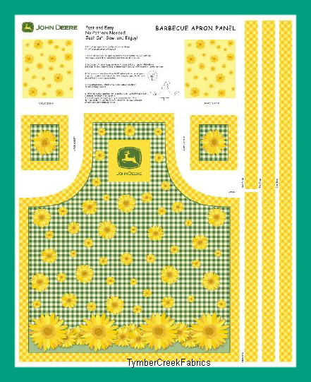 John Deere Sunflower Apron Fabric Panel