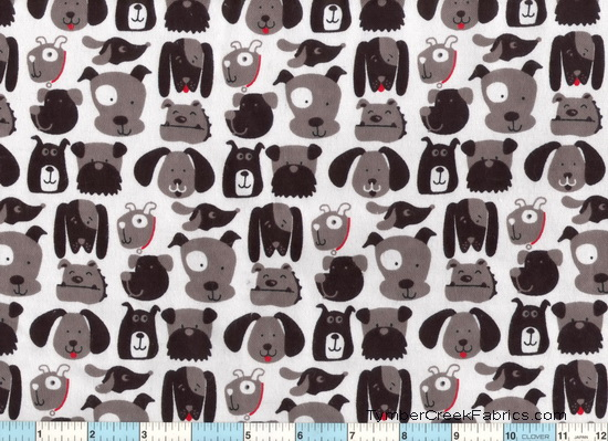 Dogs Pups Black Gray Fun Faces Flannel