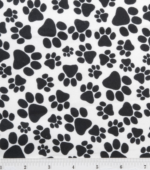 Puppy Dog Paws Black Fabric Flannel