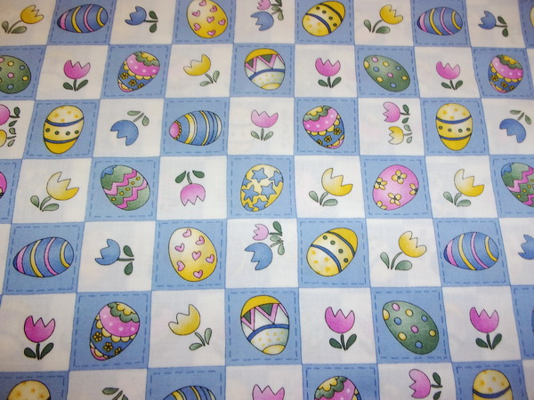 Easter Eggs Tulips Blocks Fabric