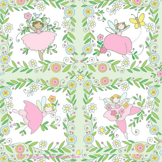 Believe Fairy Fairies 4 Squares Green Fabric