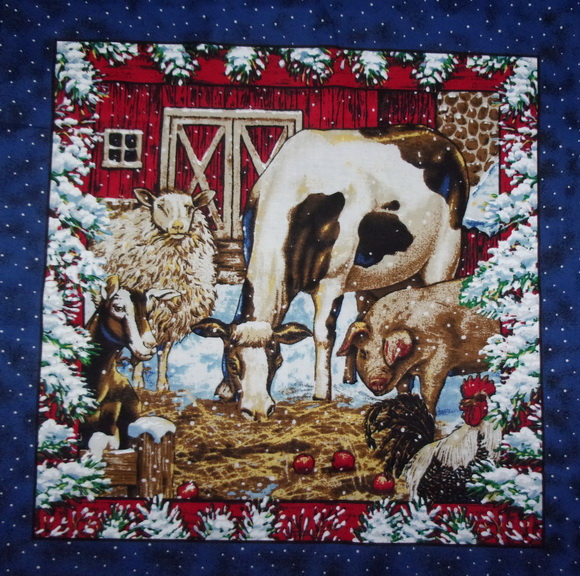 Winter Farm Animals Snow 2 Pillow Fabric Panels