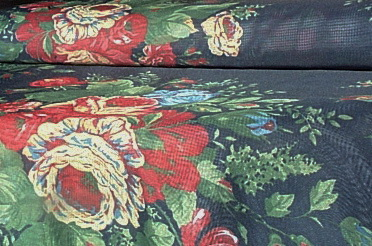 Red Cream Floral Navy Sheer Decor