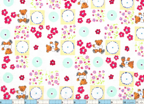 Flower Garden Bears Flannel