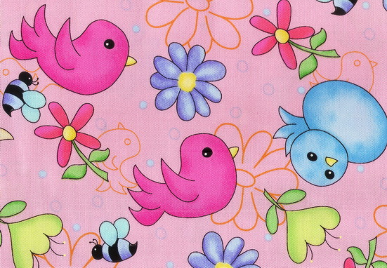 Delightful Birds Bumble Bees Flowers Pink