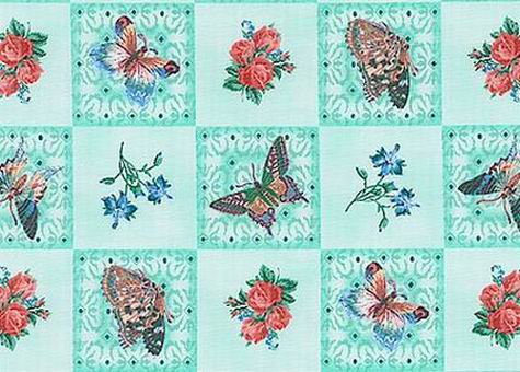 Butterflies Flutter Fantasy Floral Blocks Mint Fabric