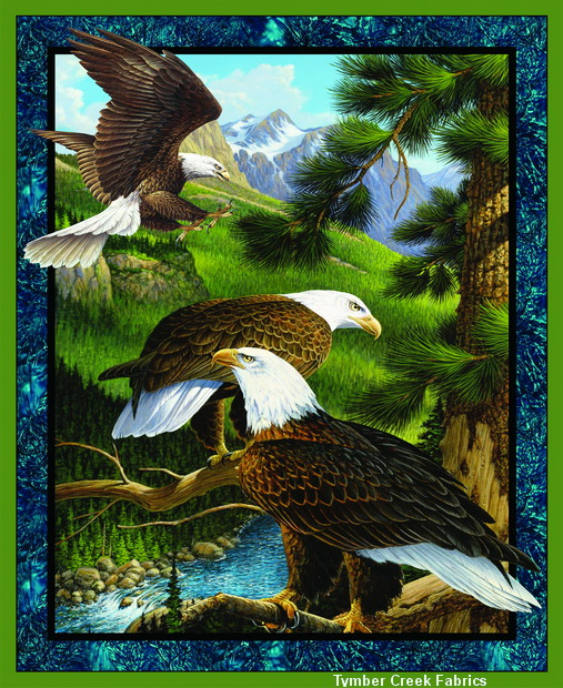Wild Wings Flying High Eagles Fabric Wall Panel