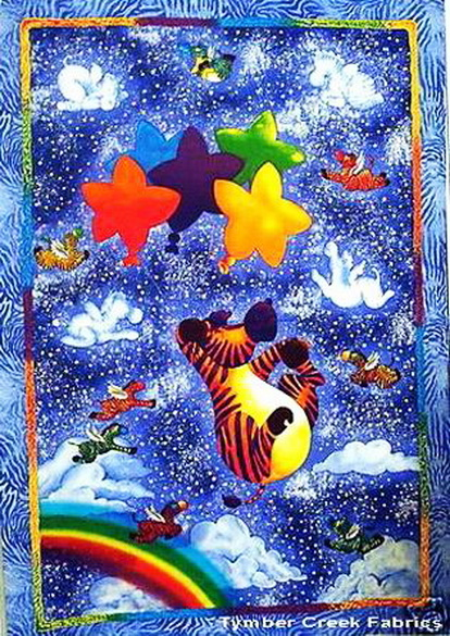 Flying Zebras Rainbow Stars Fabric Panel