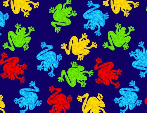 Lots of Frogs Blue Yellow Red Lime 2 yards Fleece
