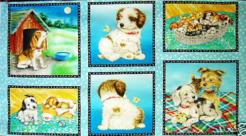 Fuzzy Tail Puppy Dog Fabric Blocks