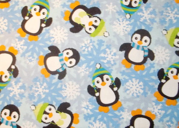 "Fuzzy Penguins Snowflakes 1yd28"" Flannel"