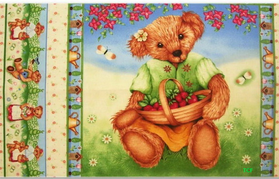 Garden Bear Strawberry Basket 2 Panels