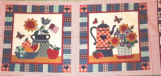 Americana Kitchen Gingham Fabric 4 Panels