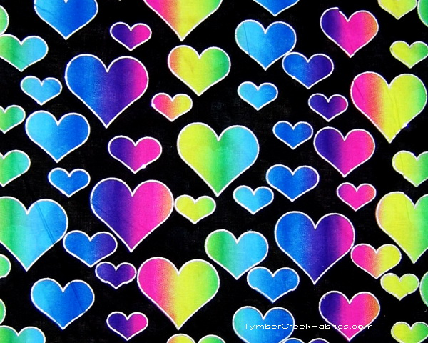 Rainbow Hearts Silver Glitter on Black Fabric