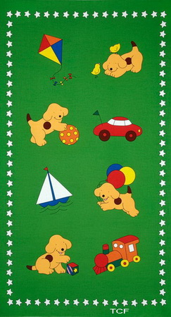 Goodnight Spot Puppy Green Fabric Panel