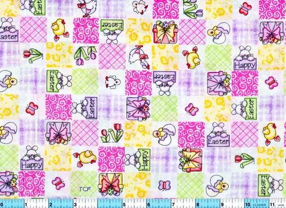 Happy Easter Chicks Ducks Fabric