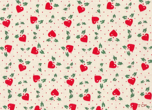Red Hearts Green Leaves Fabric