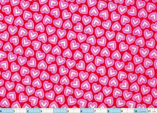Red Hearts White Center 2yds7""