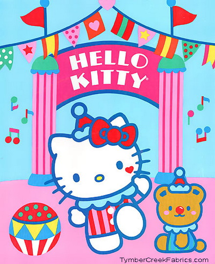 Hello Kitty Big Top Circus Clowns Fabric Quilt Panel <font color
