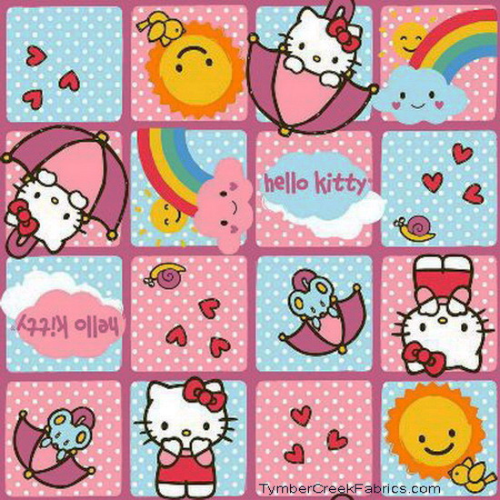 Hello Kitty Rain - Sunshine Blocks Fabric <font color=Red> SALE