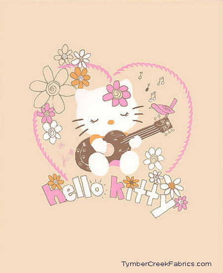 "Hello Kitty Plays The Guitar Quilt Fabric Panel<font color=""red"""