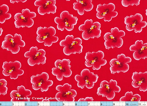 Hibiscus Red Fabric 26""
