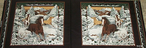 Mustangs of Snowy River Fabric 2 Panels