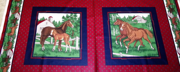 Kentucky Blue Grass Horses Fabric 2 Panels