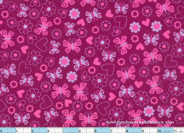 Butterfly Hot Pink Lilac Butterflies Hearts Flowers Flannel