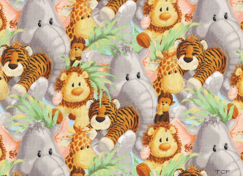 Jungle Babies Tossed Nursery 2yds Fabric