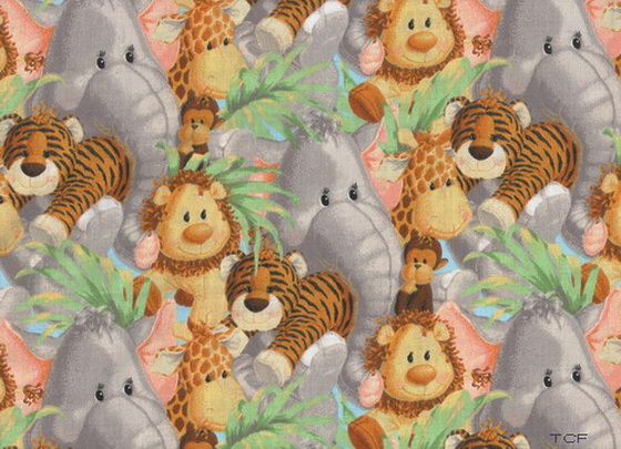 "Jungle Babies Tossed Nursery 1yd8"" Fabric"