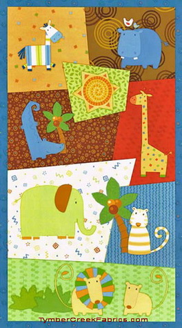 Jungle Buddies Patches Fabric Panel