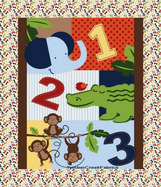Nursery Monkey Jungle 1 2 3 Wall Quilt Fabric Panel <font color=