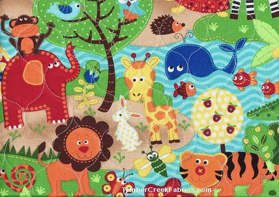 Fleece fabric baby fleece prints panels cotton flannel for Childrens jungle print fabric
