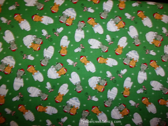 Kittens with Mittens Little Mouse Too Holiday Fabric