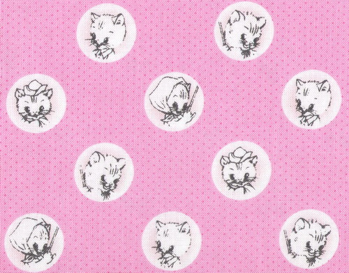 "Aunt Martha's Busy Kitties Cats Pink 2yds 23"" Fabric"